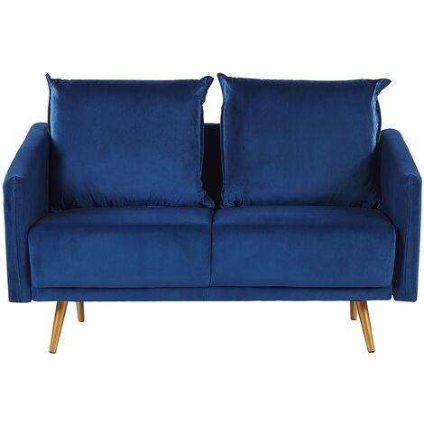 Sofá 2 plazas de terciopelo azul MAURA