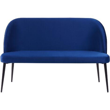 Sofá 2 plazas de terciopelo azul OSBY