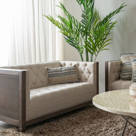 sofa 2 plazas natural-beige 146 x 80 x 75 cm