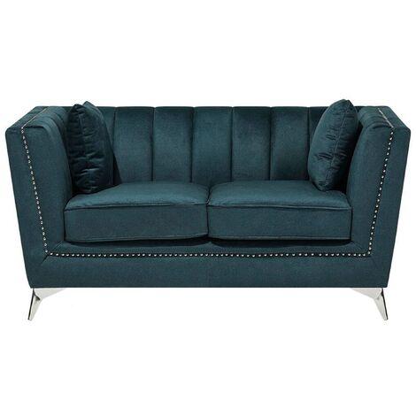 Sofá 2 plazas tapizado azul-verde GAULA