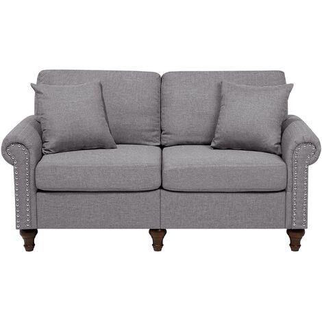Sofá 2 plazas tapizado gris claro OTRA