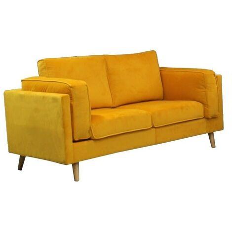 Sofa 2 plazas, terciopelo amarillo