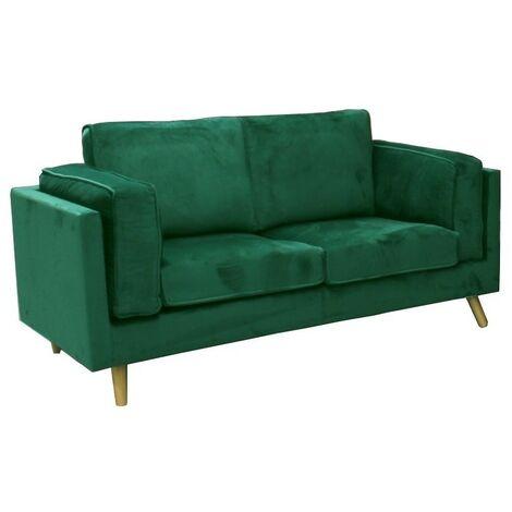 Sofa 2 plazas, terciopelo verde