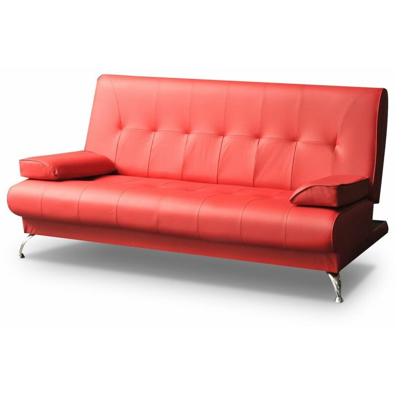 Sofa 2-Sitzer FABIA mit Schlaffunktion Rot - FUN MOEBEL