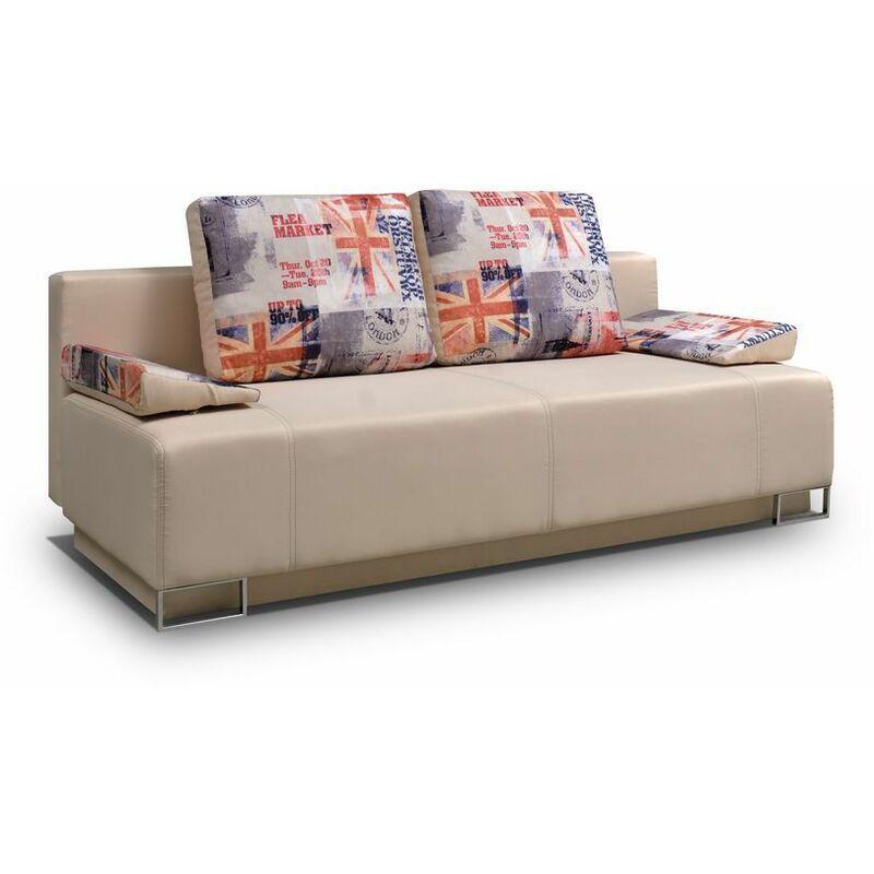 Sofa 2-Sitzer LEROS mit Schlaffunktion Beige-London - FUN MOEBEL