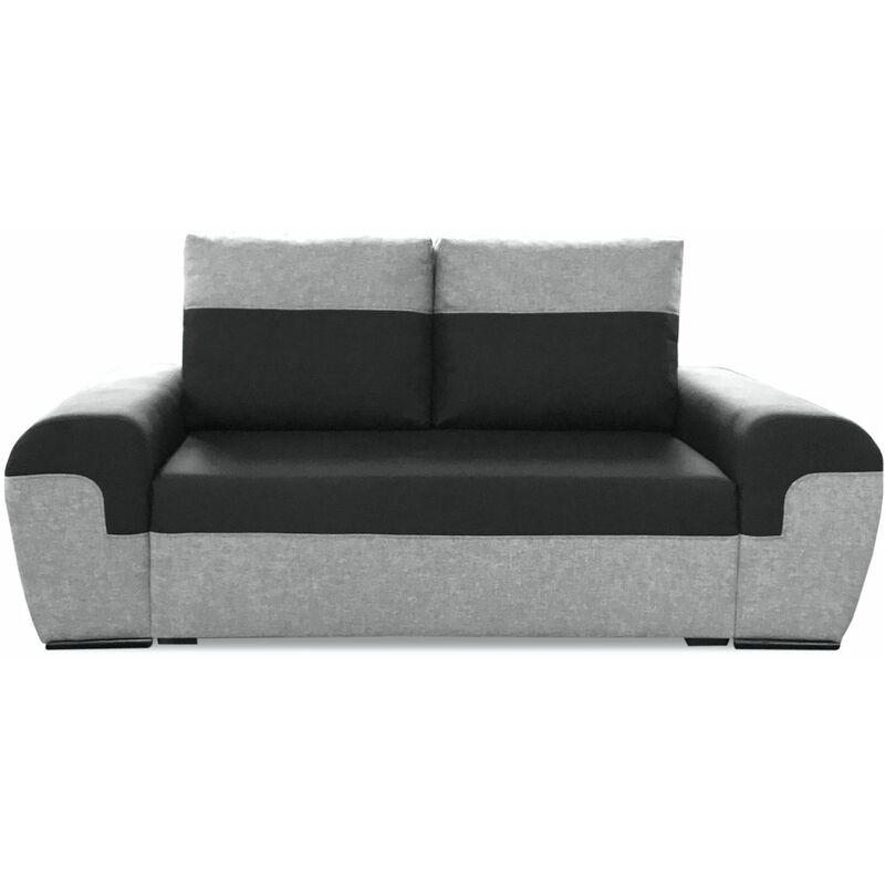 Sofa 2-Sitzer PAROS Hellgrau-Schwarz - FUN MOEBEL