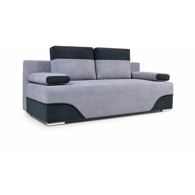 Sofa 2-Sitzer Schlafsofa ERIK Stoff Hellgrau- Schwarz - FUN MOEBEL