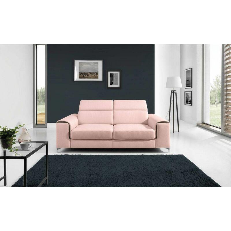 Fun Moebel - Sofa 2-Sitzer STELLA Polyesterstoff Hellrosa 176x95x105 cm