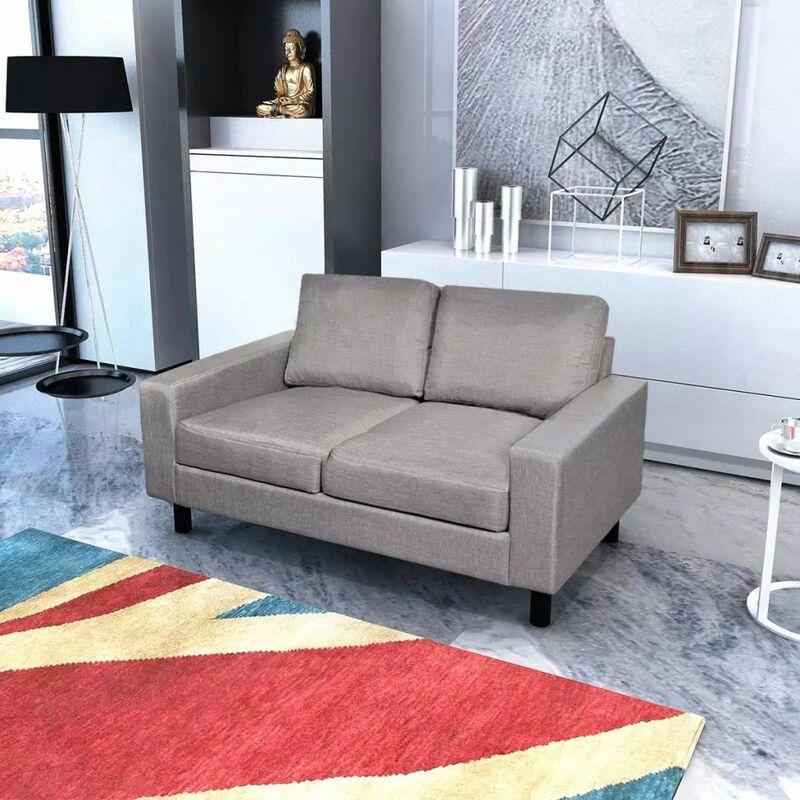 Sofa 2-Sitzer Stoff Hellgrau - ZQYRLAR