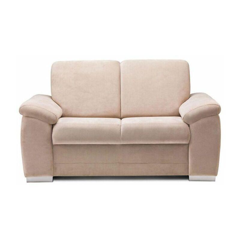 Sofa 2-Sitzer VINZENT Polyesterstoff Sandbeige 150x90x87 cm - FUN MOEBEL
