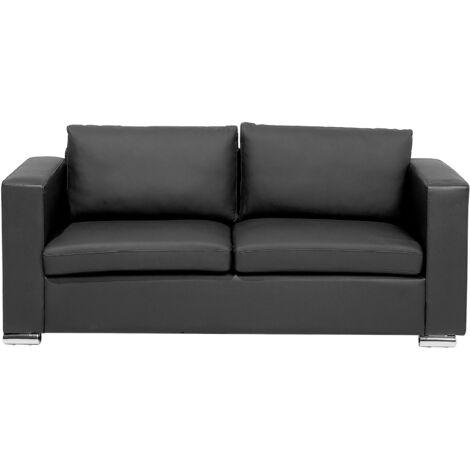Sofá 3 plazas de piel negro HELSINKI
