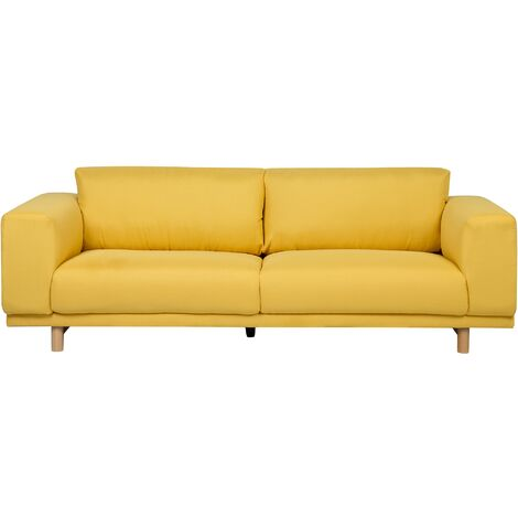 Sofá 3 plazas tapizado amarillo NIVALA