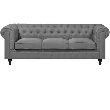 Sofá 3 plazas tapizado en gris claro CHESTERFIELD