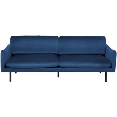Sofá 3 plazas tapizado en terciopelo azul oscuro VINTERBRO