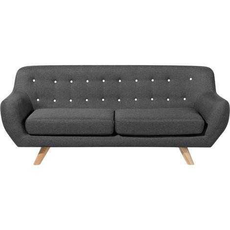 Sofá 3 plazas tapizado gris oscuro BODO
