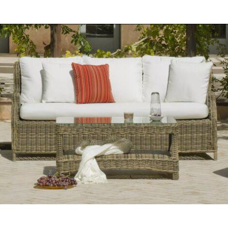 Sofá 3 plazas terraza jardín médula Borsalino-43 con cojines en varios acabados