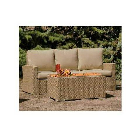 Sofa 3 plazas terraza jardín Noha-3 con cojines dralon en acabado color ratán natural 82 cm(alto)186 cm(ancho)75 cm(largo)