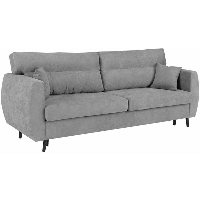 Fun Moebel - Sofa 3-Sitzer ANABEL mit Schlaffunktion Grau