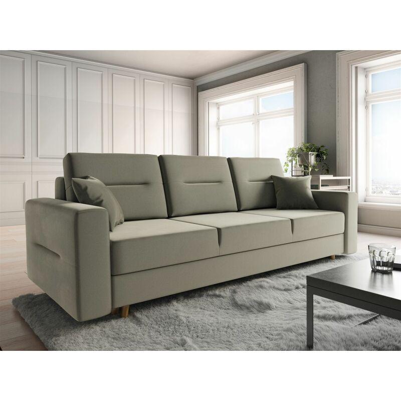 Sofa 3-Sitzer BELMIRA mit Schlaffunktion Creme - FUN MOEBEL