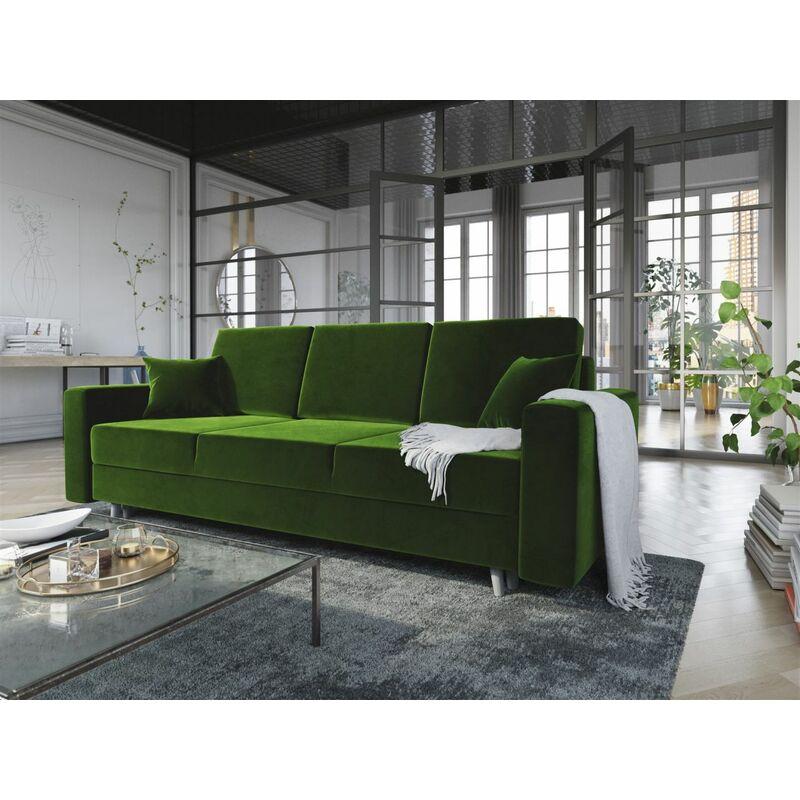Sofa 3-Sitzer CARDE mit Schlaffunktion Grün - FUN MOEBEL
