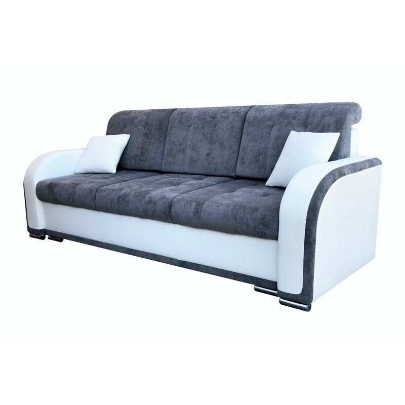 Fun Moebel - Sofa 3-Sitzer LINDO mit Schlaffunktion Weiss-Grau