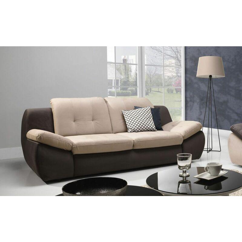 Sofa 3-Sitzer PEDRO Polyesterstoff Braun / Beige 205x84x113 cm - FUN MOEBEL