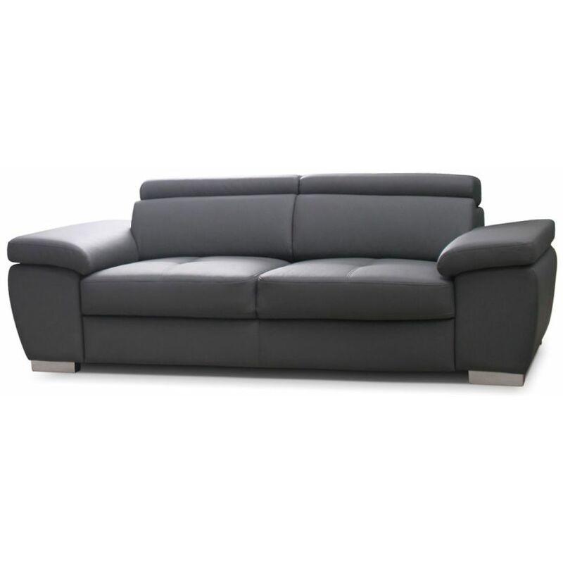 Sofa 3-Sitzer ROXI Kunstleder Grau 216x78x105 cm - FUN MOEBEL