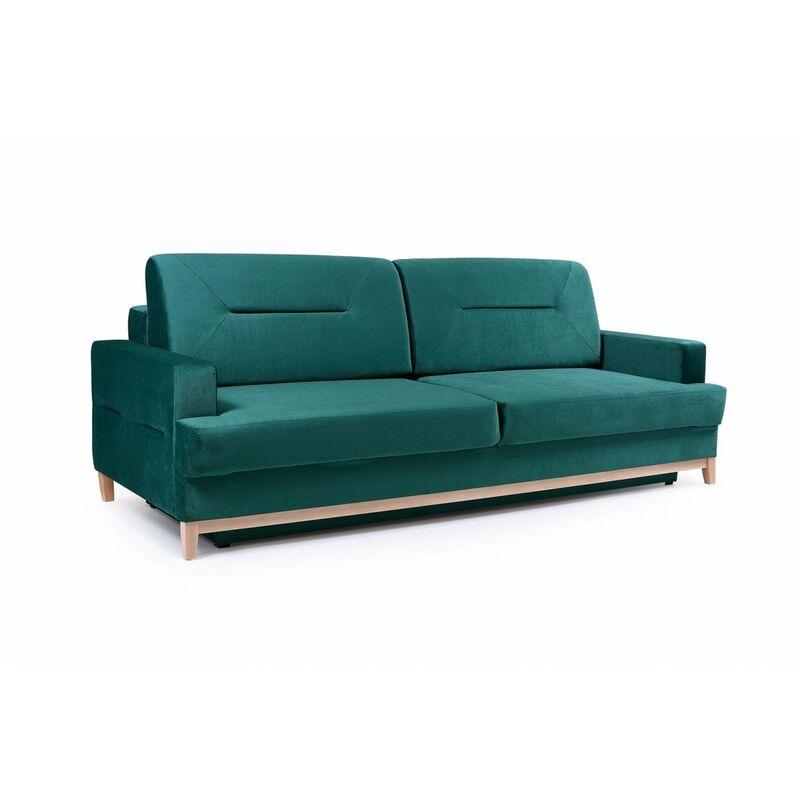 Sofa 3-Sitzer Schlafsofa LUNA Stoff Grün - FUN MOEBEL