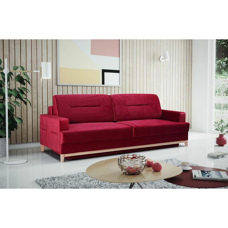 Sofa 3-Sitzer Schlafsofa LUNA Stoff Rot - FUN MOEBEL