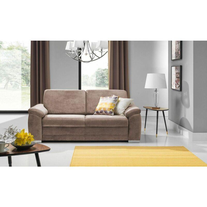 Sofa 3-Sitzer VINZENT Polyesterstoff Taupe 200x90x87 cm - FUN MOEBEL