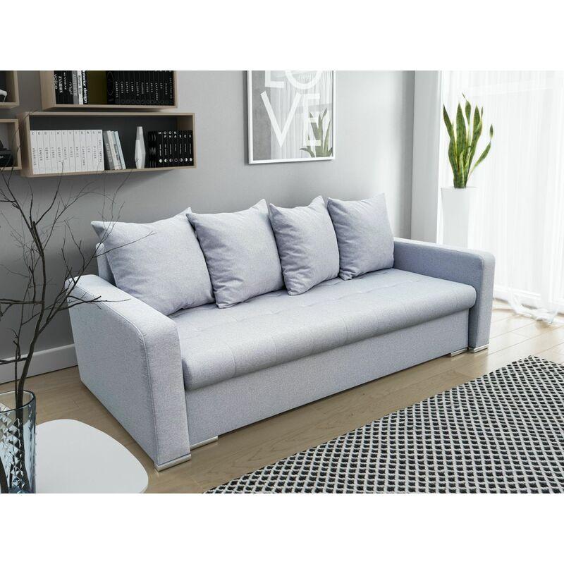 Fun Moebel - Sofa 3-Sitzer VOLOS mit Schlaffunktion Braun- Hellgrau
