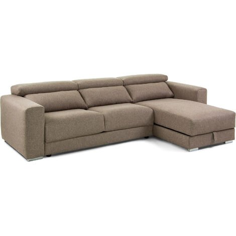 Sofá Atlanta 3 plazas chaise longue marrón 290 cm