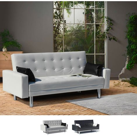 Sofa Bed 2 Seats in Faux Leather with Armrests and Cushions AGATA