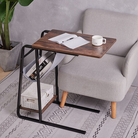 Sofa Bed Side End Table Wood Metal C-Shaped Coffee Table Laptop Notebook Desk