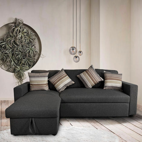 Sofa bed with peninsula and container in 3 seater fabric design POSITIS