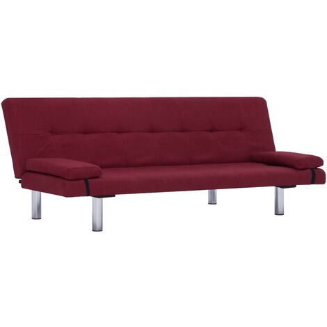 Sofa Bed with Two Pillows Wine Red Fabric