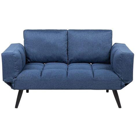 Sofá cama 2 plazas tapizado azul marino BREKKE