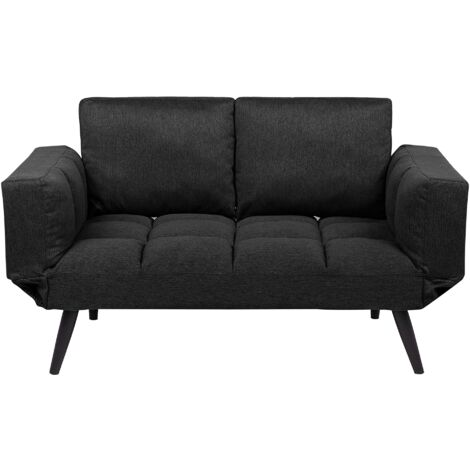 Sofá cama 2 plazas tapizado negro BREKKE
