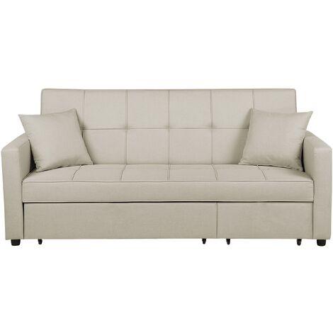 Sofá cama 3 plazas tapizado beige GLOMMA