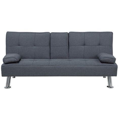 """main image of """"Sofá cama 3 plazas tapizado gris oscuro ROXEN"""""""