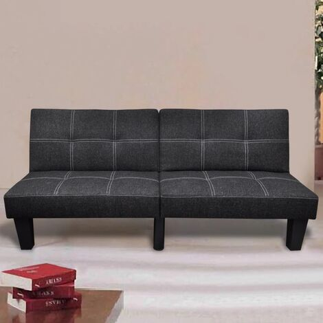 Sofá cama ajustable de tela negro