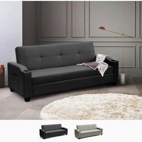 Sofá cama biplaza cuero polipiel respaldo reclinable contenedor y bolsillos Ambra Pronto Letto