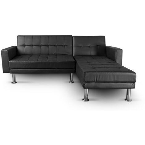Sofá cama chaise longue con toque moderno ideal para tu hogar, reversible 3 plazasgris oscuro azulado