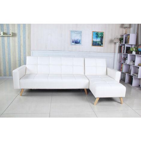 Sofá cama chaise longue Marky negro terciopelo diseño estilo nordico con patas de madera, 3 plazas