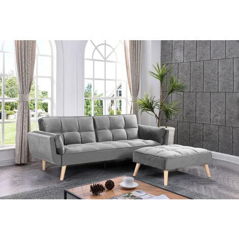 Sofá-cama chaise-longue NEW MARIA gris oscuro 3 plazas