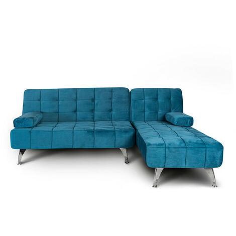 Sofa-cama chaise longue reversible sin anclaje aroa xs negro terciopelo tacto delicado, 3 plazas, gran variedad de colores