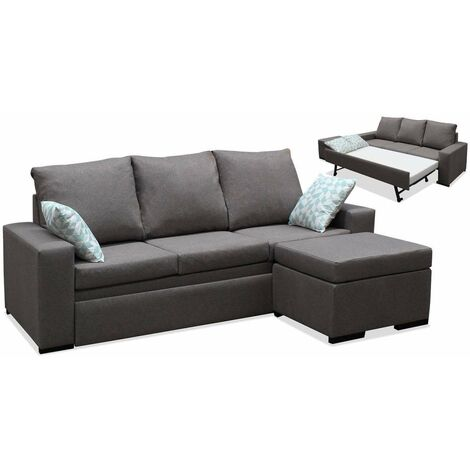 Sofa cama chaiselonge Oscar tapizado marrón 220 cm(ancho) 104 cm(altura) 155 cm(fondo). Tipo Cheilongue Izquierdo
