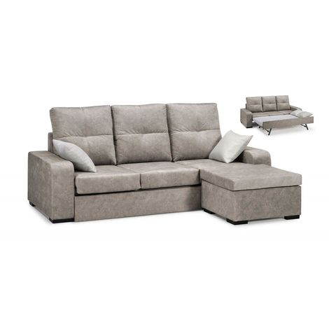 Sofa cama, Chaiselongue, color beige, 3 plazas, ref-88