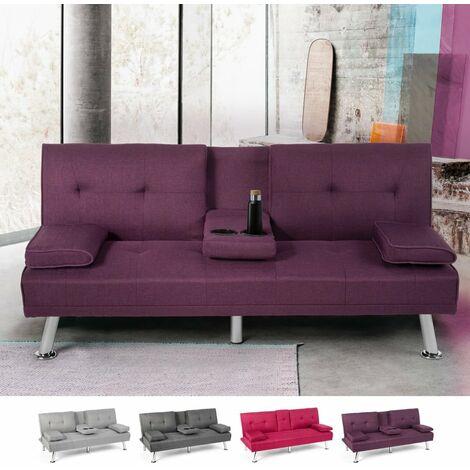 Sofá cama clic clac moderno de 3 plazas con mesa para bebidas Somnium