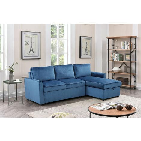 Sofá-cama con chaise longue y arcon 3 plazas color gris oscuro
